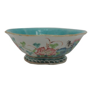 Oriental Bowl With Celadon Glaze Center