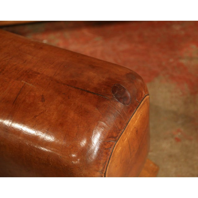 Brown Early 20th Century Czech Pommel Horse Bench With Patinated Brown Leather For Sale - Image 8 of 10