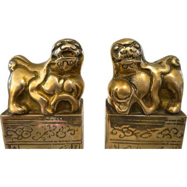 Brass Foo Dog Bookends For Sale - Image 4 of 7