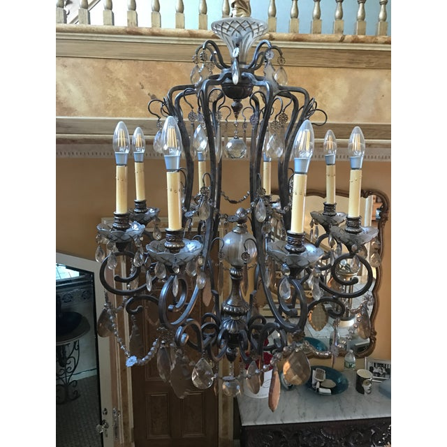 Bronze & Smoked Glass Wrought Iron Chandelier - Image 3 of 3