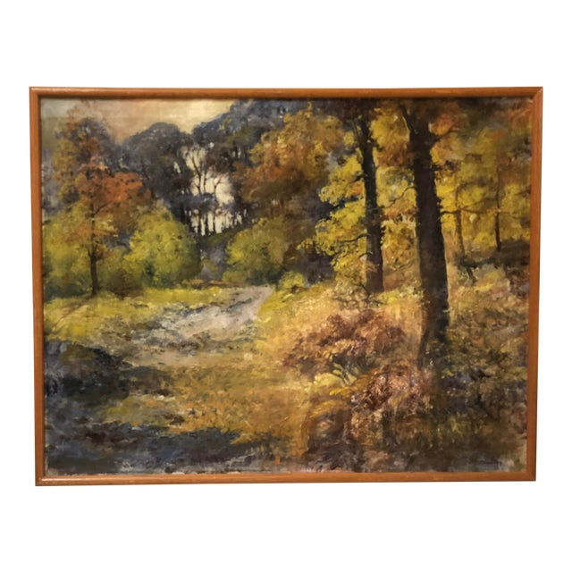 Autumn Forest Oil on Canvas Early 20th Century For Sale