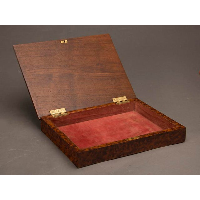 Paper An unusual rectangular table top storage box completely sheathed in extraordinary burl walnut from England c. 1890 For Sale - Image 7 of 7