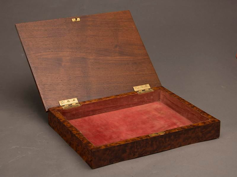 An Unusual Rectangular Table Top Storage Box Completely Sheathed In  Extraordinary Burl Walnut From England C