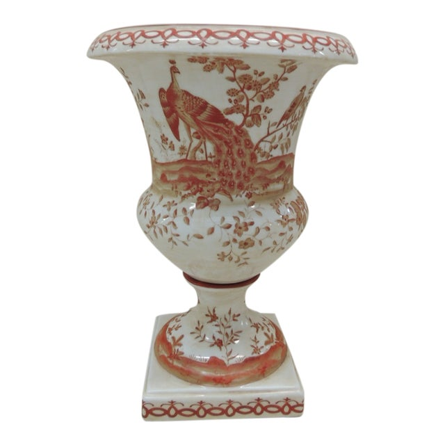 Orange and White Ceramic Urn For Sale