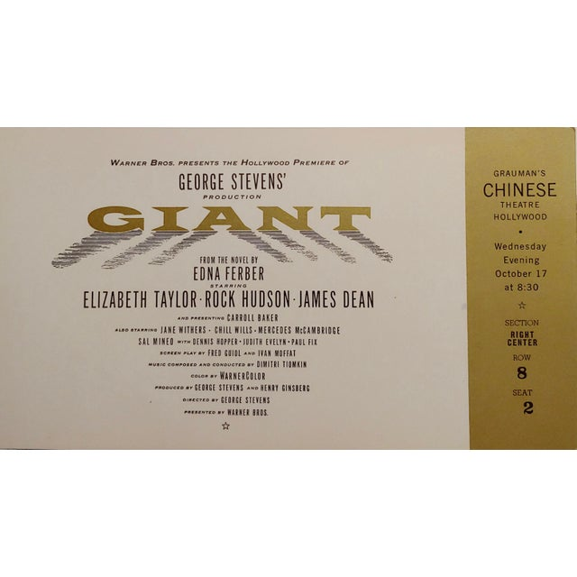 """""""Giant"""" Original 1956 Chinese Theater Hollywood Premiere Tickets - a Pair For Sale - Image 4 of 7"""