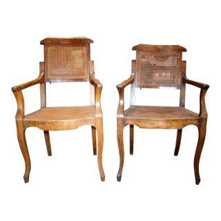 Antiques Walnut Barber Chairs - a Pair For Sale