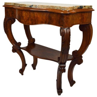 Antique Console Table in Carved Walnut With Marble Top For Sale