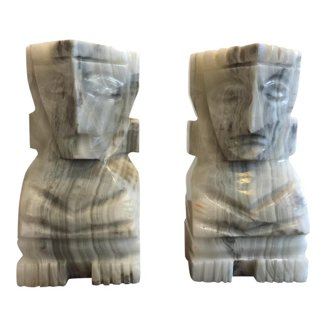 Large White Marble Tiki Bookends - Image 1 of 5