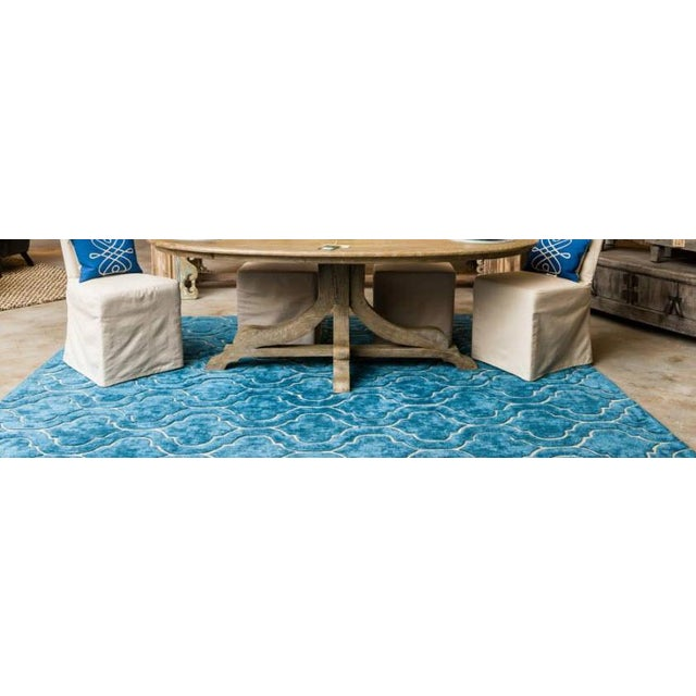 Hand Tufted Trellis Blue Rug - 8' X 10' - Image 6 of 6