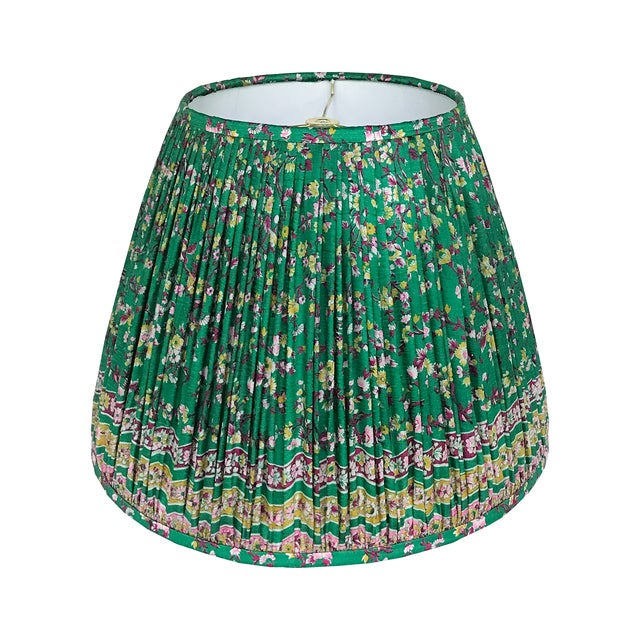 Emerald Green Gathered Silk Lamp Shade, Made With a Vintage Sari For Sale - Image 4 of 4