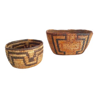 Early-20th Century Northwest Coast and Pequot Native American Baskets - a Pair For Sale