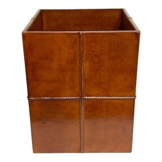 French Modern Stitched Leather Cube Wastepaper Basket For Sale