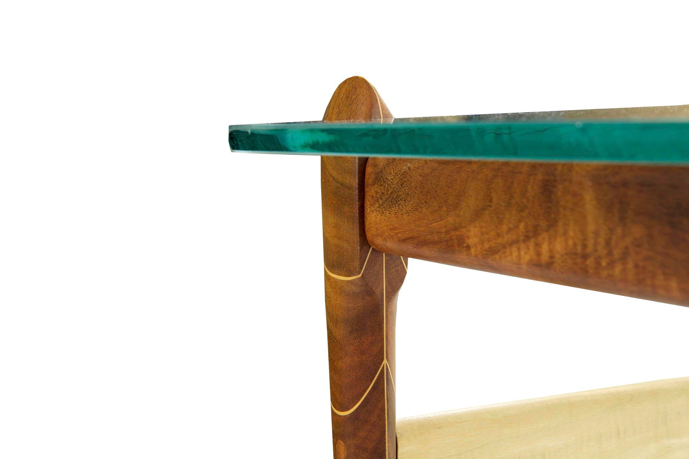 American Studio Artisan Made Walnut And Maple Coffee Table Late 20th Century