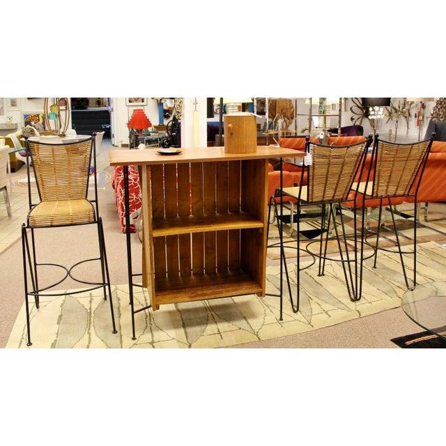Raymor Mid Century Modern Arthur Umanoff for Raymor Iron & Wood Slat Standing Bar 1950s For Sale - Image 4 of 13