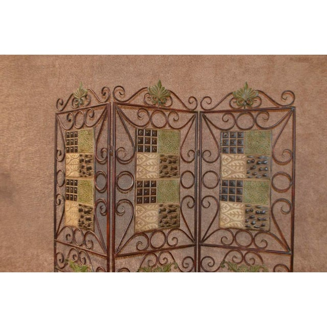 Traditional 1980s Vintage 3-Panel Folding Screen For Sale - Image 3 of 13