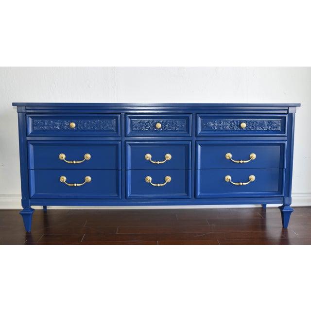 Permacraft Nine Drawer Navy Blue Dresser With Carved Front For Sale - Image 13 of 13