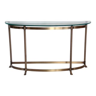 1960s Mid-Century Modern Demilune Brass Console For Sale