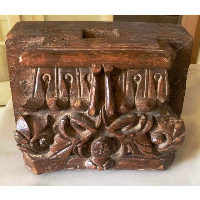 C. 1880 Anglo Indian Carved Teak Architectural Column Top For Sale In Denver - Image 6 of 13