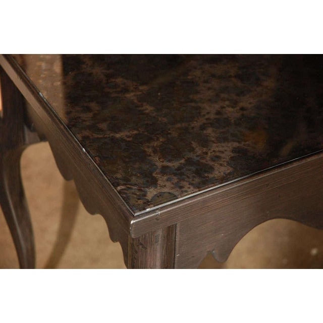 Paul Marra Cabriole Leg Side Table finished in black antique, and with new inset antiqued amethyst mirrored top, one...