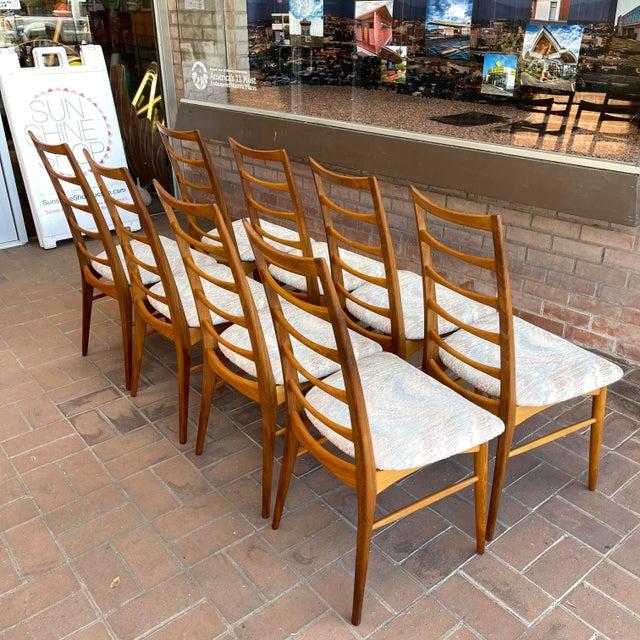 Brown Danish Modern Koefoeds Hornslet Teak Ladder-Back Dining Chairs - Set of 8 For Sale - Image 8 of 13