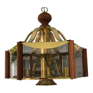 Mid Century Rare Frederick Ramond Brass and Wood Chandlier For Sale