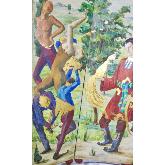 Russian Fairy Tale Floor Screen 1930s. Three panel on disk feet. Wooden surface with metal hinges. Painted both sides,...