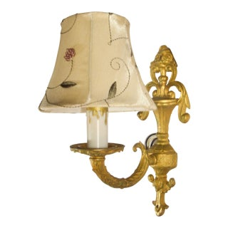 1920s Gilt Brass Single Arm Sconce with Embroidered Shade For Sale
