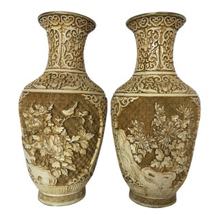 1940s Chinese Carved Ivory White Cinnabar Vases - a Pair