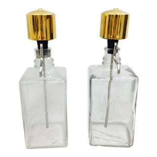 Vintage Etched Vodka & Water Decanters - a Pair For Sale