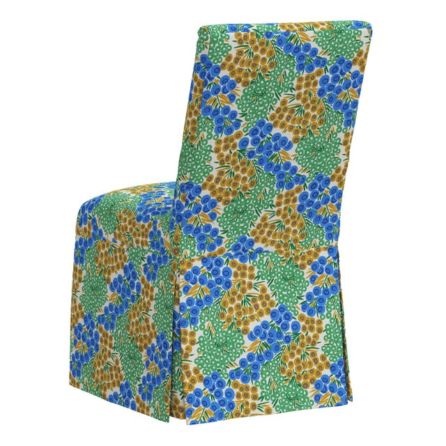 Slipcover Dining Chair in Loiret Blue Citrine For Sale - Image 4 of 8
