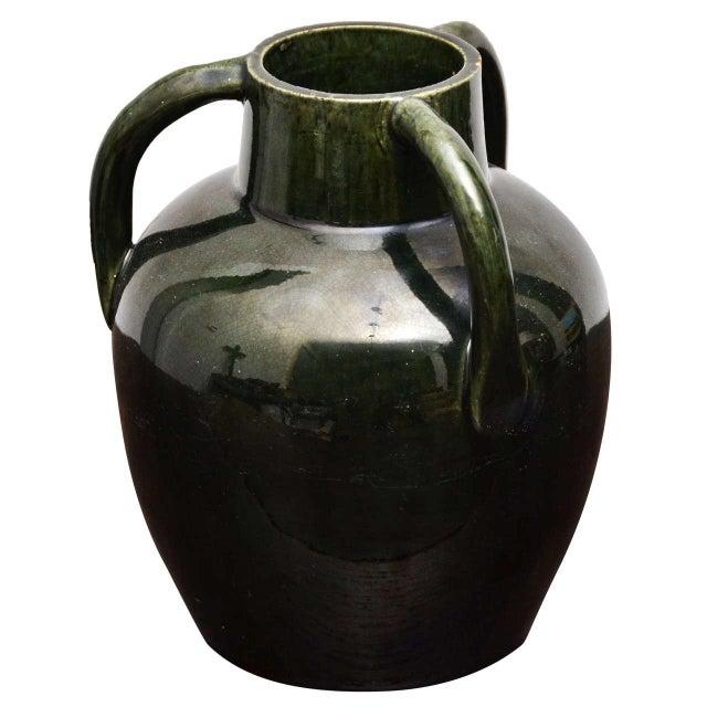Ceramic Dark Green Ceramic Vase With Three Handles For Sale - Image 7 of 7