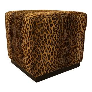 Barclay Butera Carson Cube Cheetah Print Ottoman