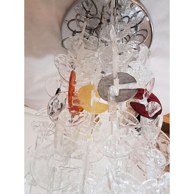 Metal Mid Century Modern Mazzega Chrome & Murano Glass Chandelier For Sale - Image 7 of 12