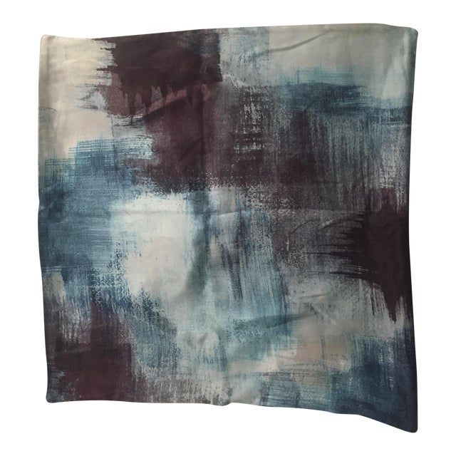 West Elm Painterly Textured Silk Pillow Cover For Sale