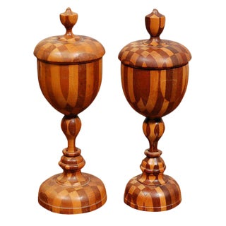 Near Pair Antique Turned Wood Chalices For Sale