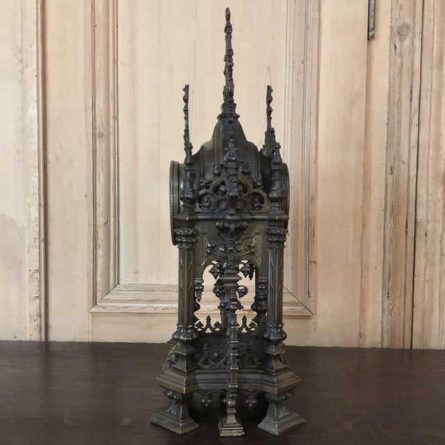 Mid 19th Century Mantel Clock, 19th Century French Gothic in Bronze For Sale - Image 5 of 13