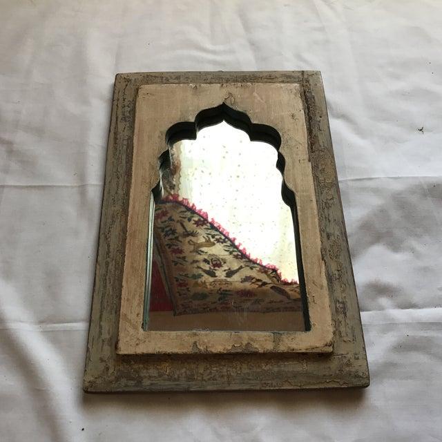 Vintage Indian Archway Painted Teak Mirror - Image 3 of 11