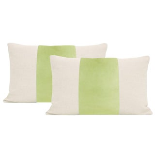 "12""x 18"" Celadon Velvet Panel & Linen Lumbar Pillows - a Pair For Sale"