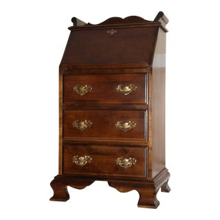Vintage Small Chippendale Style 3 Drawer Drop Front Slant Front Secretary Desk For Sale