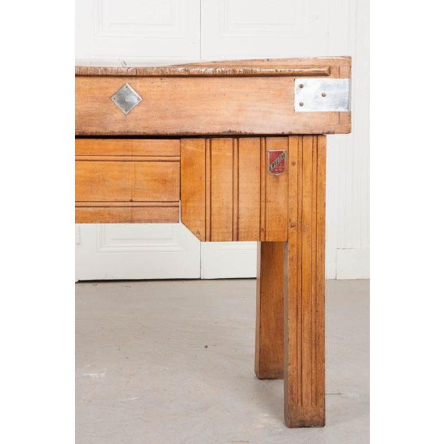 Early 20th Century French Early 20th Century Art Deco Pine Butcher Block For Sale - Image 5 of 12