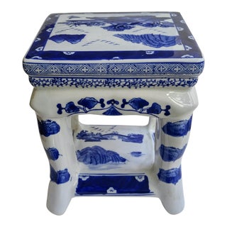 Blue and White Ceramic Ottoman