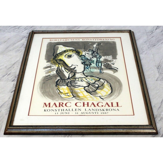 Lithograph Mid Century Modern Vintage Framed Marc Chagall Poster Lithograph 1967 For Sale - Image 7 of 9