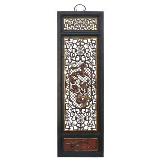Chinese Flower Birds Red Black Golden Wood Wall Panel