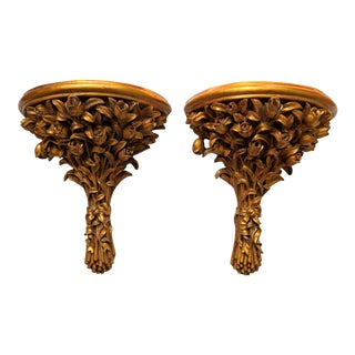 20th Century Italian Style Gold Gilt Resin Flower Wall Brackets - a Pair For Sale