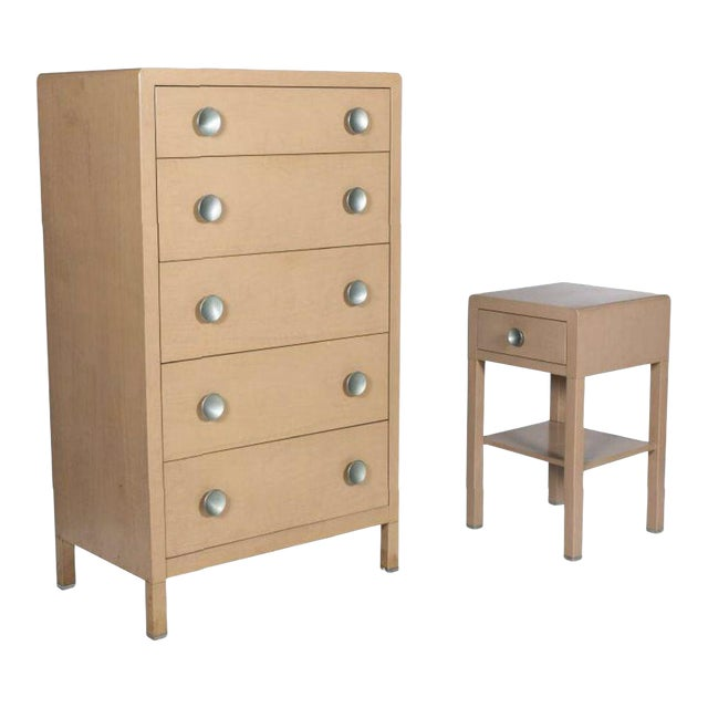 Last Call 1930's Norman Bel Geddes for Simmons Art Moderne Dresser & Nightstand For Sale