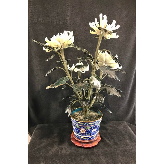 """Vintage Chinese Chrysanthemum Jade Tree With Cloisonné Pot and Stand - 24"""" Tall For Sale In Indianapolis - Image 6 of 12"""