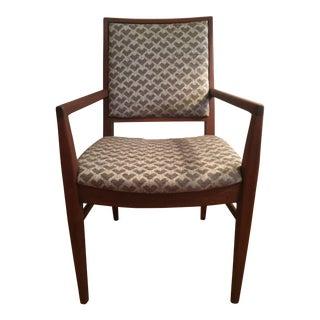 1970s Mid-Century Modern Upholstered Teak Arm Chair