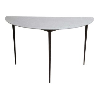 Astele Parker Bluestone Top and Metal Base Demilune Console For Sale