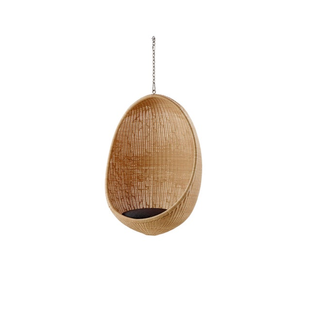 Nanna Ditzel Hanging Egg Chair - Natural - Sunbrella Sailcloth Shade Cushion with 5 Foot Chain For Sale - Image 11 of 11