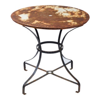 Early 20th Century Round Top Garden Table With Metal Base For Sale